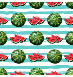 watermelon seamless pattern hand-drawn vector image