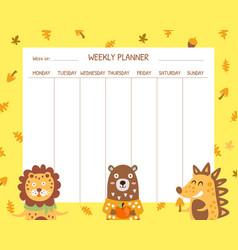 Weekly planner template school timetable design vector