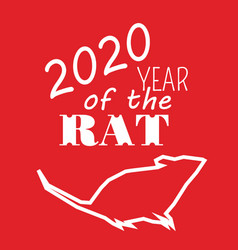 White contoured rat on red background and text vector