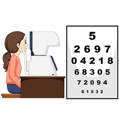 Woman having eyes exam with machine vector