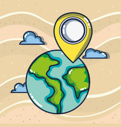 world map location pin tourist vacation travel vector image