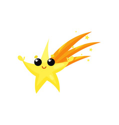 yellow falling star with cute face and little vector image