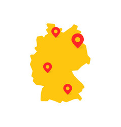 Yellow germany map with geo tag vector