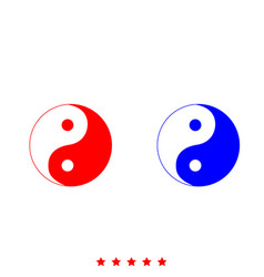 Yin yang symbol icon different color vector