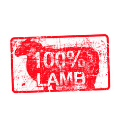 100 per cent lamb - red rubber dirty grungy stamp vector image vector image