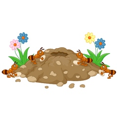 Anthill in the forest land vector image vector image