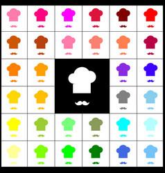 chef hat and moustache sign felt-pen 33 vector image vector image