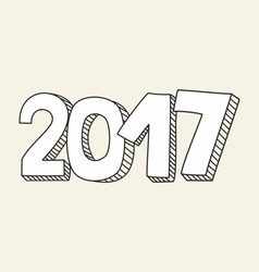 New Year 2017 hand drawn sign vector image vector image