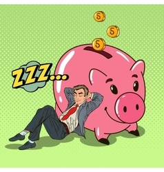 Pop art businessman sleeping near piggy vector