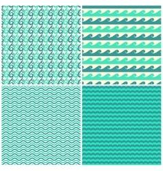 Set of aqua green waves seamless patterns vector image vector image