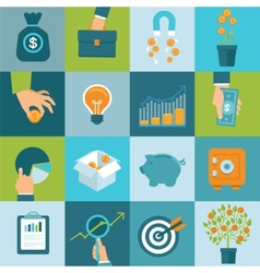 set of business concepts in flat style vector image vector image