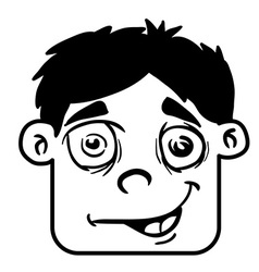 simple black and white smiling boy head cartoon vector image vector image