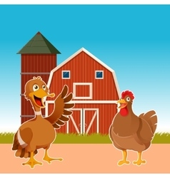 Farm animals on the background vector image