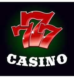 Casino jackpot icon with red lucky number vector image