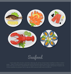 icons of seafood on a plate in flat style vector image