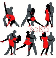 salsa dancers set vector image