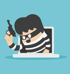 Thieves stole computer data vector image vector image