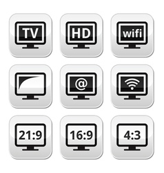 TV monitor screen buttons set vector image vector image