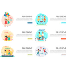 best friends day forever web collection on white vector image vector image