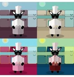 Cat cook set vector image