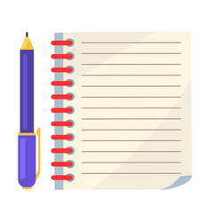 diary with spiral or page of copybook and ink pen vector image vector image