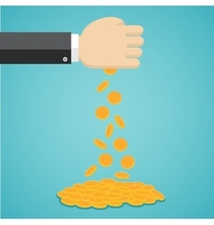 Falling gold coins from hand vector image