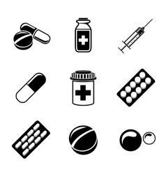 Medicine drugs monochrome icons set with - pills vector image