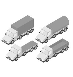 trucks collection of gray isometric vehicles vector image