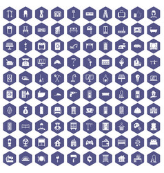 100 comfortable house icons hexagon purple vector