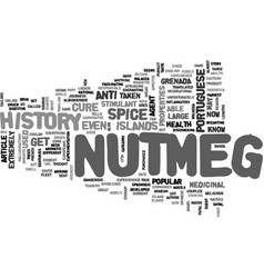 A brief history of nutmeg text word cloud concept vector