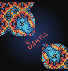 Abstract design ornate style in blue and red vector