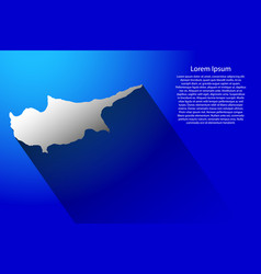 Abstract map of cyprus with long shadow on blue vector