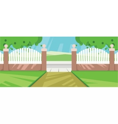Abstract yard with green garden vector