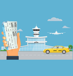 airport terminal building and yellow taxi hand vector image