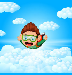alone skydiver is in the free fall vector image