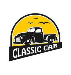 ancient pick up car logo design vector image