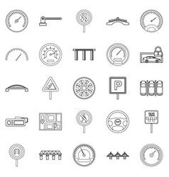 Asphalt icons set outline style vector