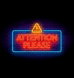 attention please neon sign on the wall with vector image