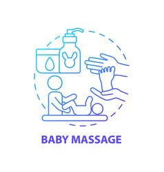 Baby massage blue gradient concept icon vector
