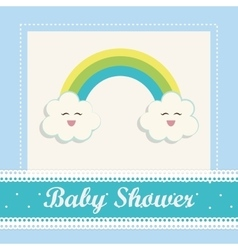 Baby Shower cloud and rainbow design vector image