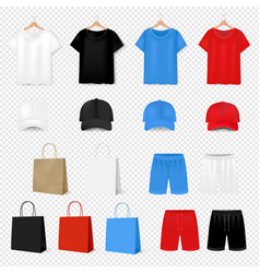 Big set t shirt and baseball cap on transparent vector
