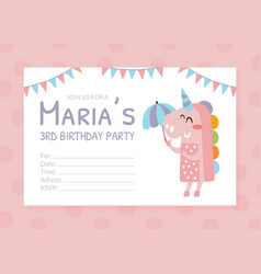 birthday party pink invitation card flyer vector image