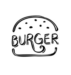 black and white burger icon food vintage design vector image