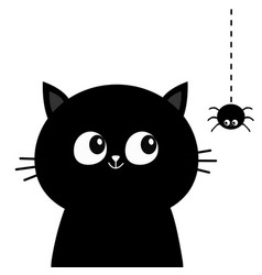 black cat head face silhouette looking at hanging vector image