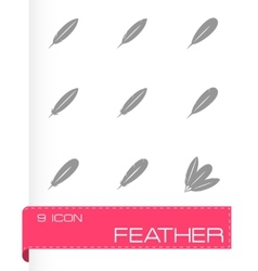 Black feather icon set vector