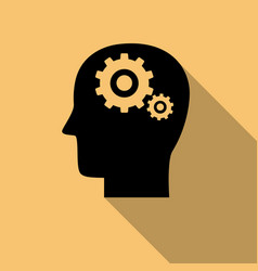 black head with gears brain activity icon with vector image