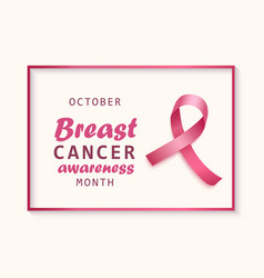 breast cancer awareness banner with pink ribbon vector image