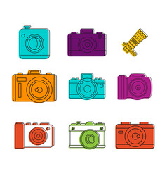 camera icon set color outline style vector image