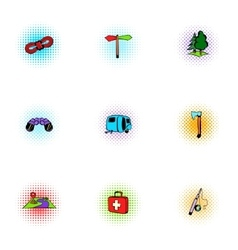 Camp icons set pop-art style vector