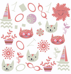 cats seamless cute pattern it is locate in swatch vector image